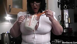 cheating wife with glasses fucks in the kitchen