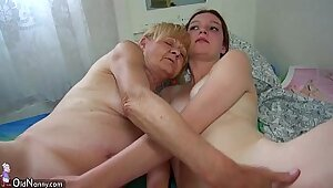 Horny Granny Is Nerd and Her Nerdy Friend Fucks Her Toy Stick
