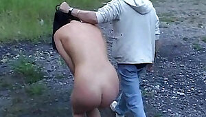 Master tied and fucks his brunette slave in dessert valley