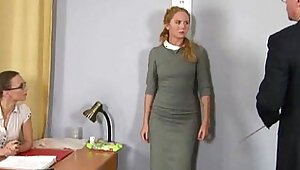 Humiliating nude job interview for shy blonde girl