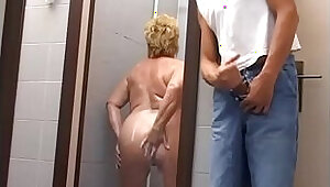 Mature woman attacked and fucked in the gym shower