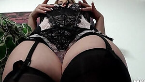Lingerie clad blond Eve Fox gives sloppy BJ before riding dick