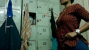 Indian college Girl Changing Dress In Gym Changing Room