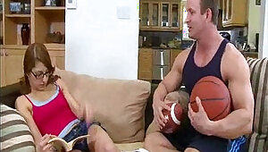 nerdy Lexi Bloom gets her tits fucked hard by her basketball coach
