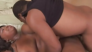 Plumper black bbw getting her hairy pussy pounded