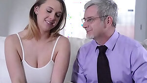 Beautiful girl masturbate with boobs gets fucked by a old man for Money