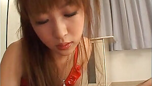 Japanese whore makes her man moan and cum