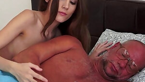 Young blonde babe squirting on grandpas cock