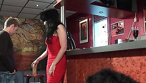 Big boobed mature style anal pounded in a bar