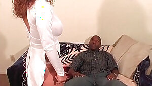 Busty ebony sucks black hard long cock